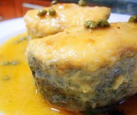 Ventresca de merluza en salsa de puerros