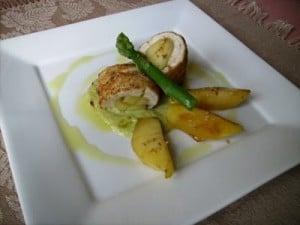 Escalopes de pollo con manzanas