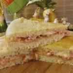 Focaccia rellena de masa de queso ricotta