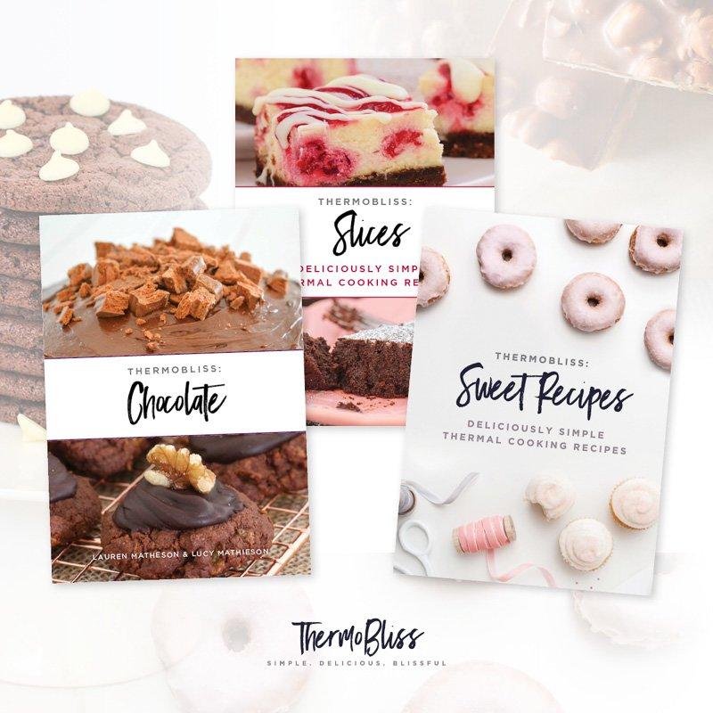 Nuestro paquete Thermomix Chocolate, Slices & Sweet Cookbook Bundle es la colección de libros de cocina definitiva ... obtenga tres de nuestros libros de cocina Thermomix más vendidos por solo $ 35.00 (ahorre $ 17.85).