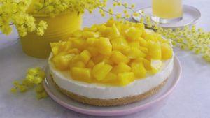 Como hacer Tarta de queso mimosa con mango
